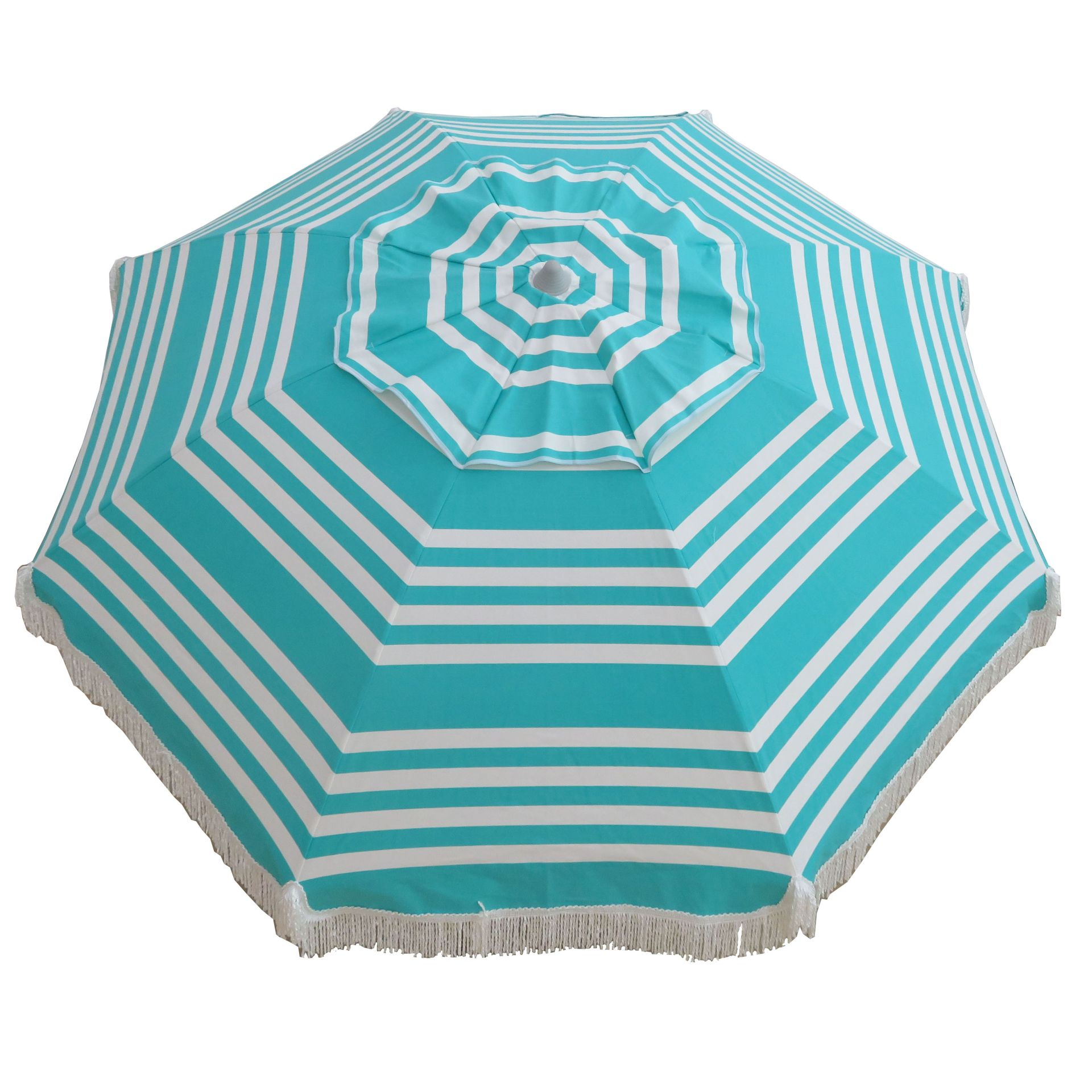 Iridescent Stripe  210cm Fringe Beach and Shade Umbrella by Hollie and Harrie