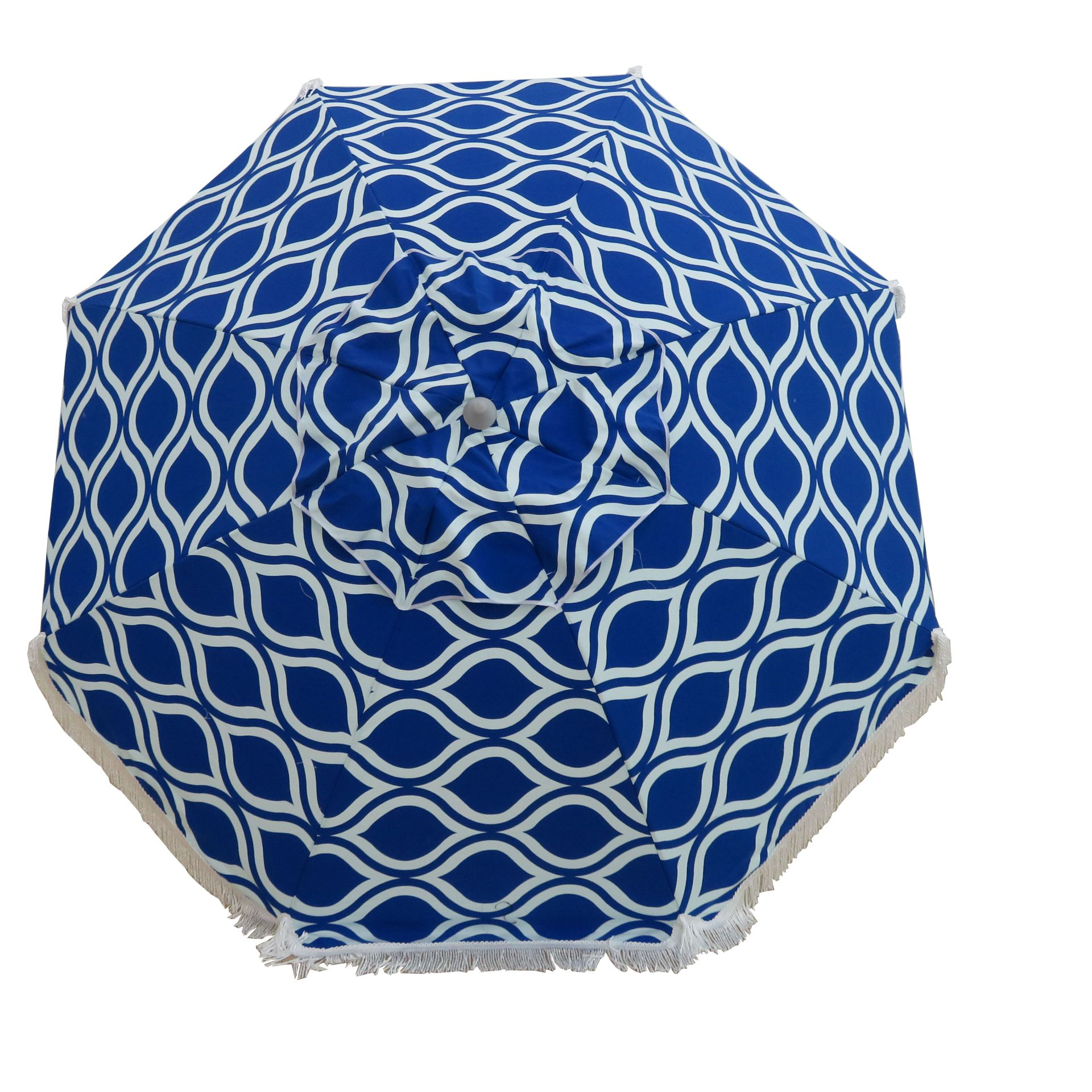 Moroccan Blue 210cm Fringe Beach and Shade Umbrella By Hollie and Harrie