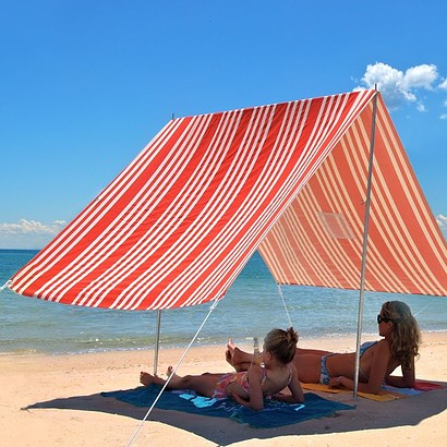 SOMBRILLA MOANA BEACH SHADE-RED FRENCH STRIPE