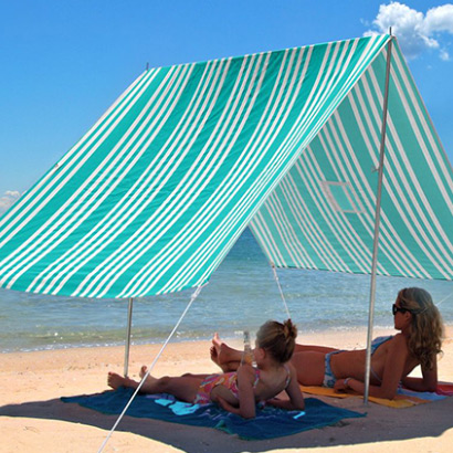 SOMBRILLA MOANA BEACH SHADE - IRIDESCENT STRIPE TURQUOISE